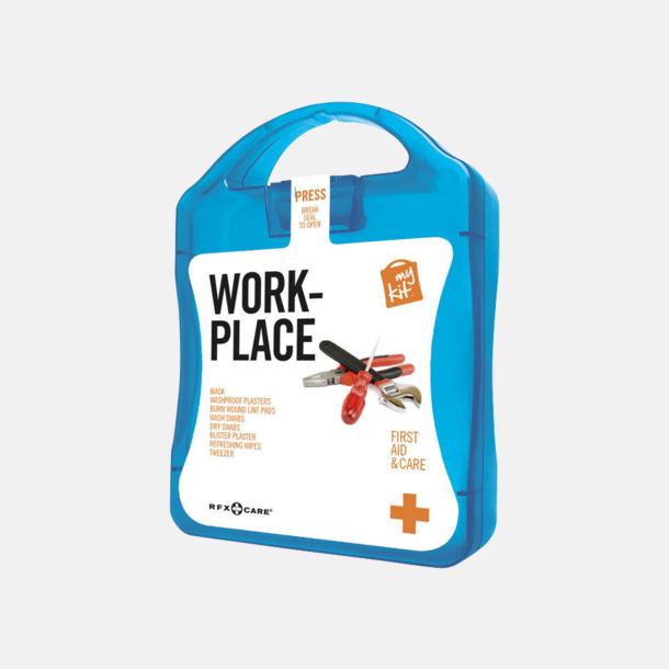 Blå Första hjälpen kit for arbetsplatser - med reklamtryck