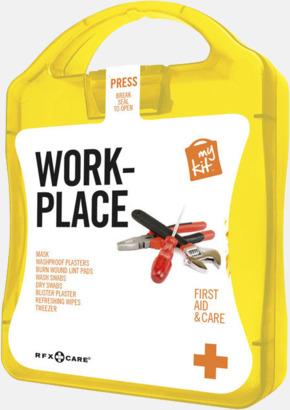 Gul Första hjälpen kit for arbetsplatser - med reklamtryck