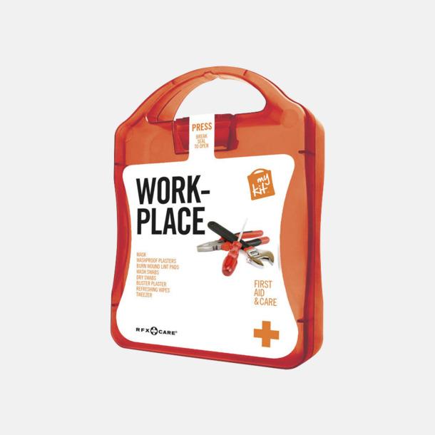 Röd Första hjälpen kit for arbetsplatser - med reklamtryck