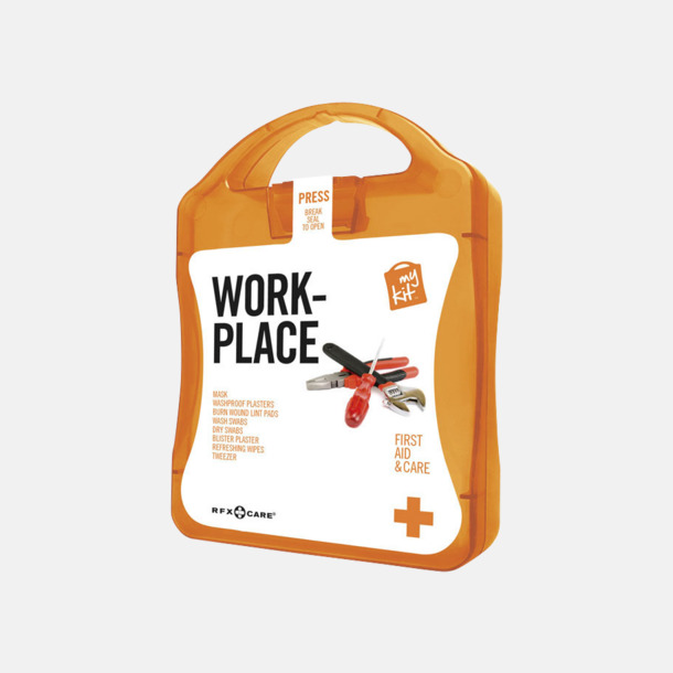 Orange Första hjälpen kit for arbetsplatser - med reklamtryck