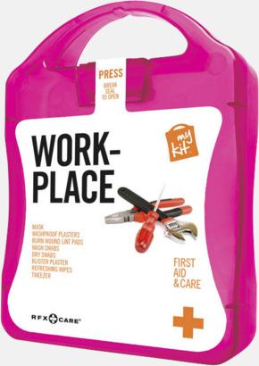 Magenta Första hjälpen kit for arbetsplatser - med reklamtryck