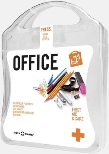 Vit Första hjälpen kit på kontoret - med reklamtryck