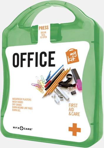 Grön Första hjälpen kit på kontoret - med reklamtryck
