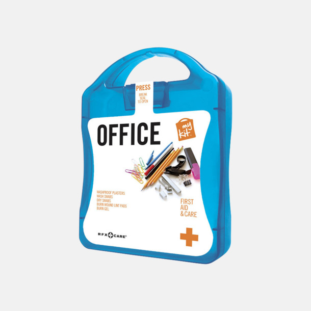 Blå Första hjälpen kit på kontoret - med reklamtryck