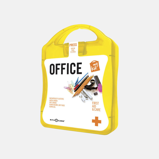 Gul Första hjälpen kit på kontoret - med reklamtryck