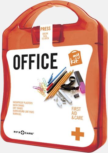 Röd Första hjälpen kit på kontoret - med reklamtryck