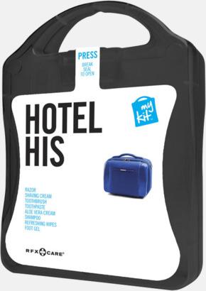 Svart Maskulint hotellkit med reklamtryck