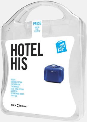 Vit Maskulint hotellkit med reklamtryck