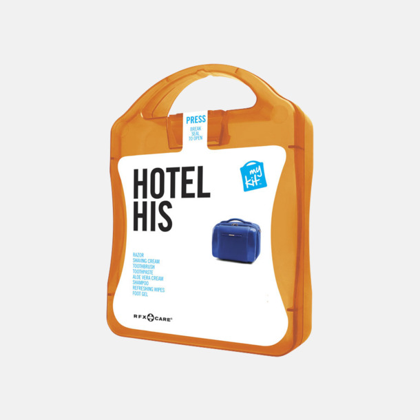 Orange Maskulint hotellkit med reklamtryck