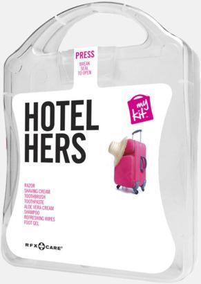Vit Feminint hotellkit med reklamtryck