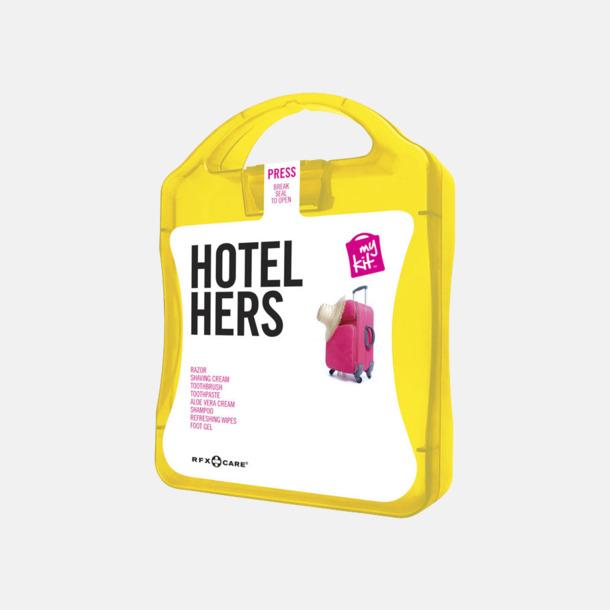 Gul Feminint hotellkit med reklamtryck
