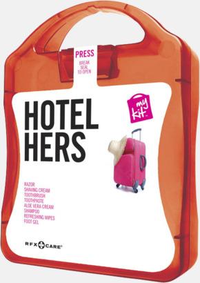 Röd Feminint hotellkit med reklamtryck
