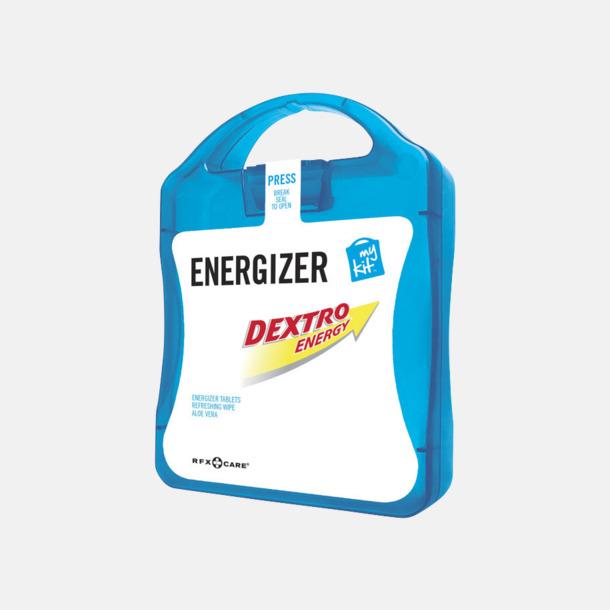 Blå Energifyllt första hjälpen-kit med reklamtryck