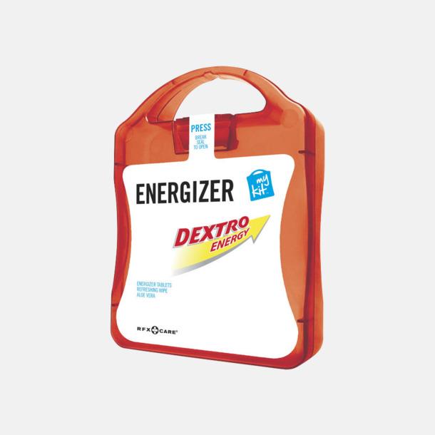 Röd Energifyllt första hjälpen-kit med reklamtryck