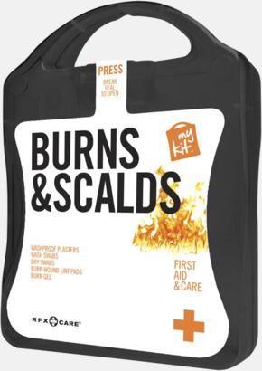 Svart Första hjälpen kit vid ytliga brännskador - med reklamtryck