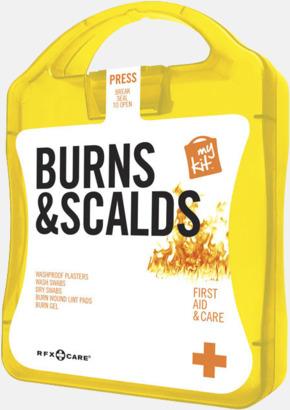Gul Första hjälpen kit vid ytliga brännskador - med reklamtryck