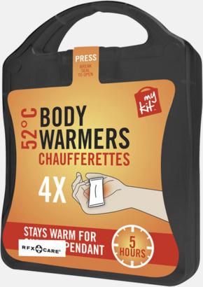 Svart 4-pack värmekuddar i förpackning med reklamtryck