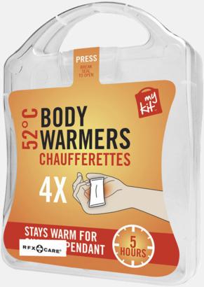 Vit 4-pack värmekuddar i förpackning med reklamtryck