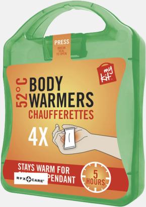 Grön 4-pack värmekuddar i förpackning med reklamtryck