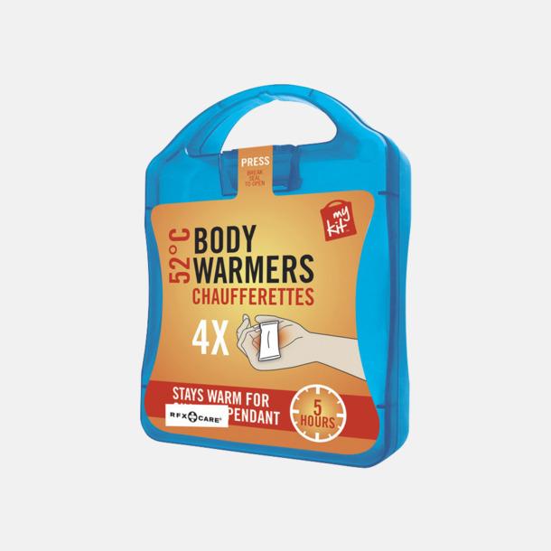 Blå 4-pack värmekuddar i förpackning med reklamtryck
