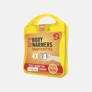 4-pack värmekuddar i förpackning med reklamtryck