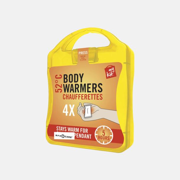 Gul 4-pack värmekuddar i förpackning med reklamtryck