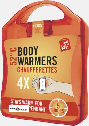 Röd 4-pack värmekuddar i förpackning med reklamtryck
