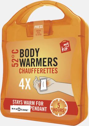 Orange 4-pack värmekuddar i förpackning med reklamtryck