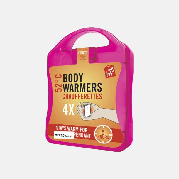 Magenta 4-pack värmekuddar i förpackning med reklamtryck