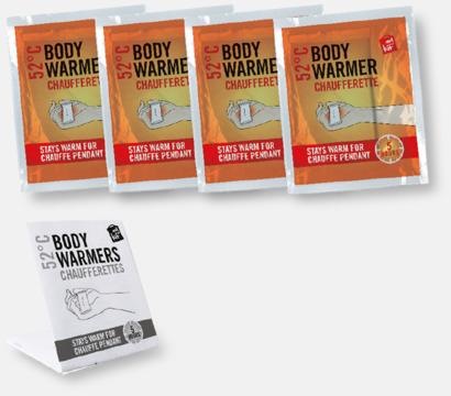 Innehåll 4-pack värmekuddar i förpackning med reklamtryck