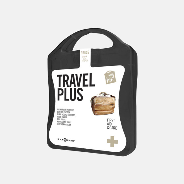 Svart Travel plus aid kit med reklamtryck