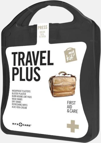 Svart Travel plus aid kit med reklamtryck
