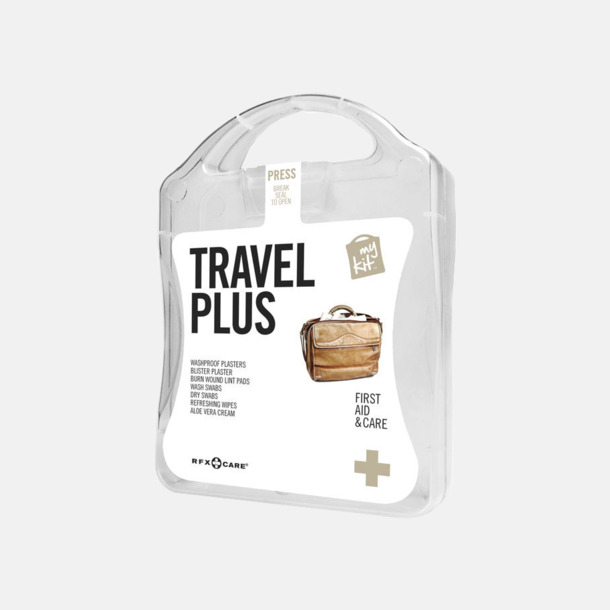 Vit Travel plus aid kit med reklamtryck