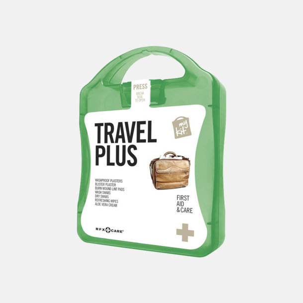Grön Travel plus aid kit med reklamtryck