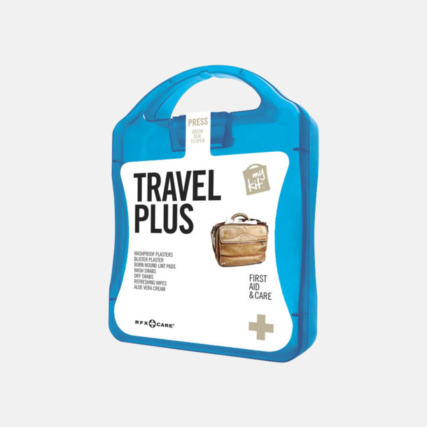 Blå Travel plus aid kit med reklamtryck