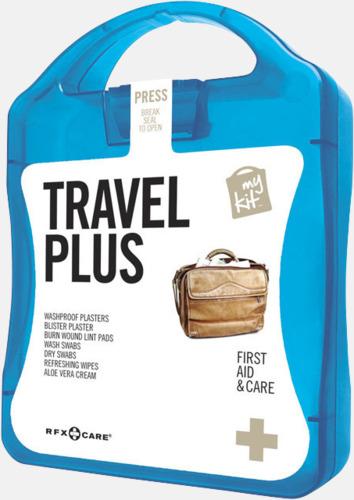 Blå Travel plus aid kit med reklamtryck