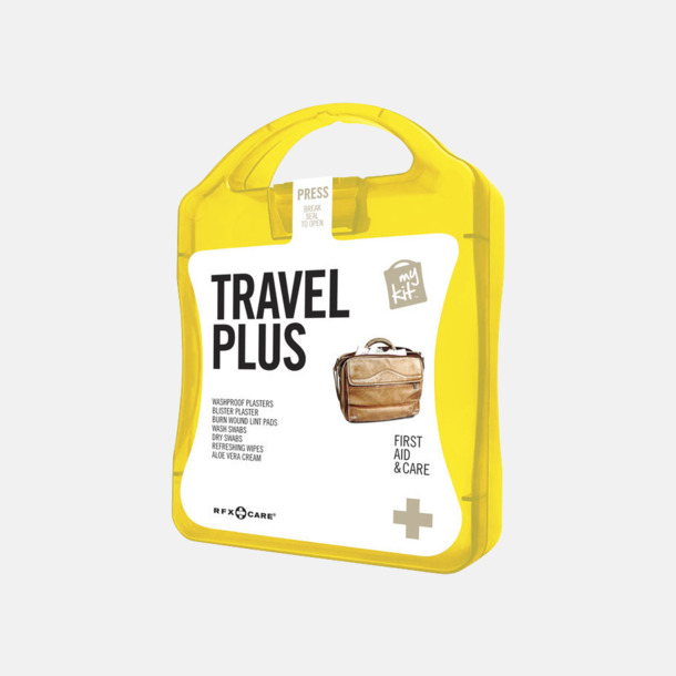 Gul Travel plus aid kit med reklamtryck