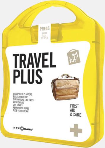 Gul Travel plus aid kit med reklamtryck