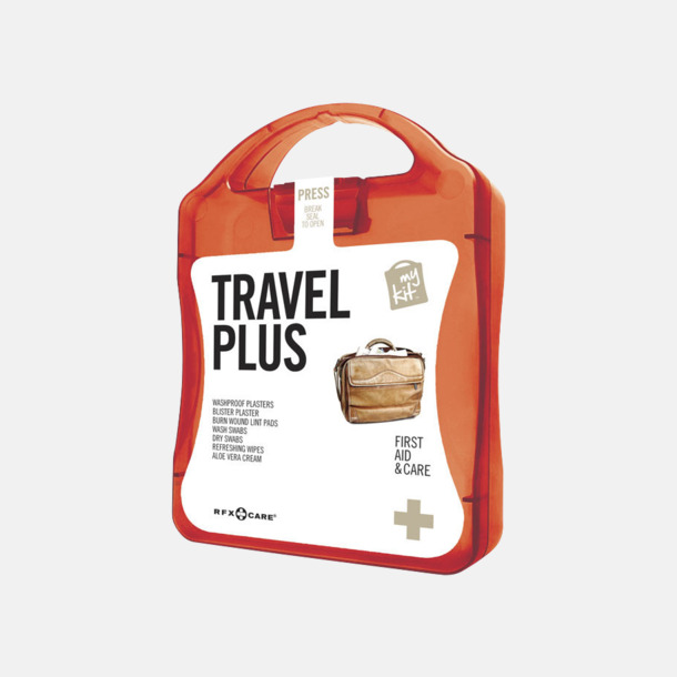 Röd Travel plus aid kit med reklamtryck