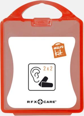 Röd Öronproppar i mikroförpackning med reklamtryck