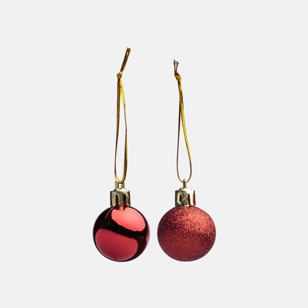 Röd Set med 17 julkulor i miniformat med reklamtryck