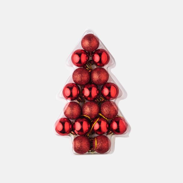 Set med 17 julkulor i miniformat med reklamtryck