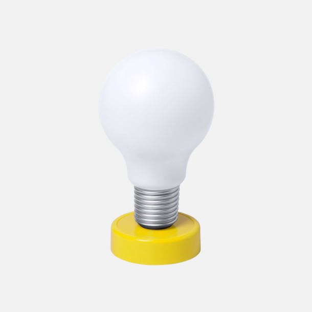 Gul Glödlampor som bordslampa med reklamtryck