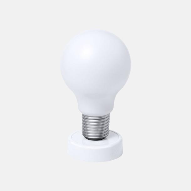 Vit Glödlampor som bordslampa med reklamtryck