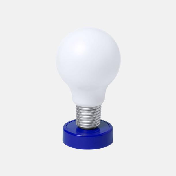 Blå Glödlampor som bordslampa med reklamtryck