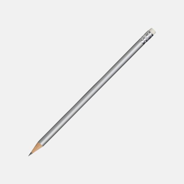 Silver Runda blyertspennor med sudd - med reklamtryck