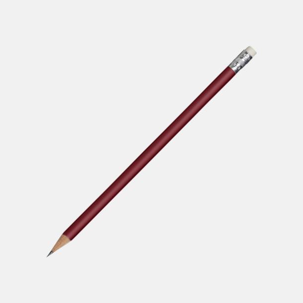 Röd Runda blyertspennor med sudd - med reklamtryck