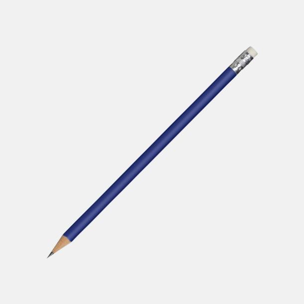 Marinblå Runda blyertspennor med sudd - med reklamtryck