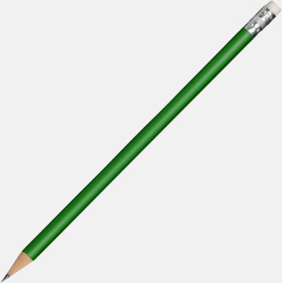 Grön Runda blyertspennor med sudd - med reklamtryck