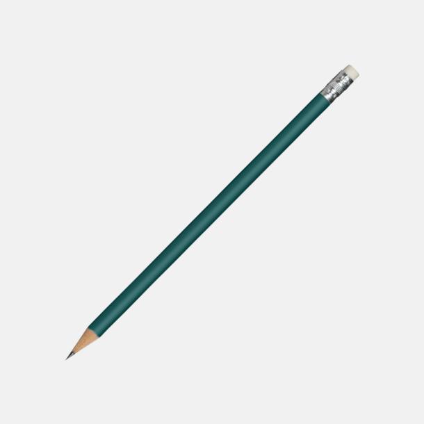 Mörkgrön Runda blyertspennor med sudd - med reklamtryck